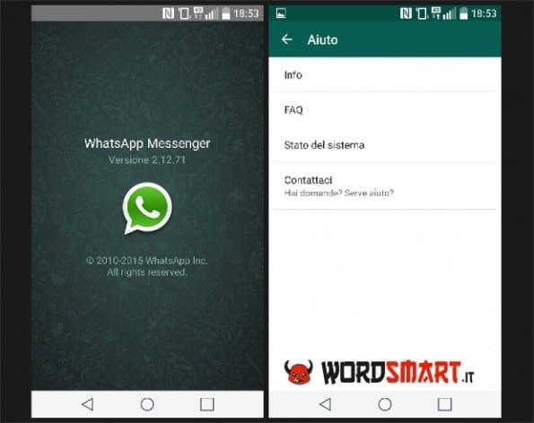 verificare versione whatsapp