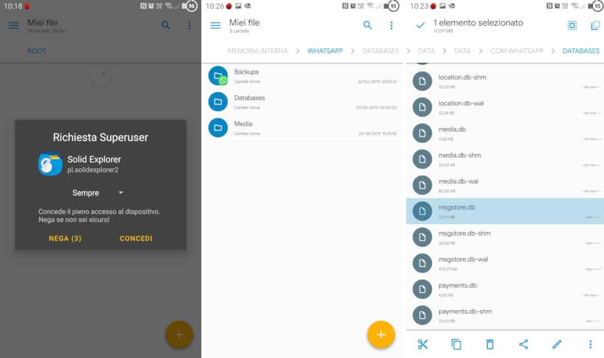 come aprire un database WhatsApp estrazione key con app Solid File Explorer