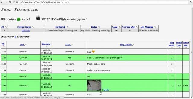come aprire un database WhatsApp programma WhatsApp Xtract