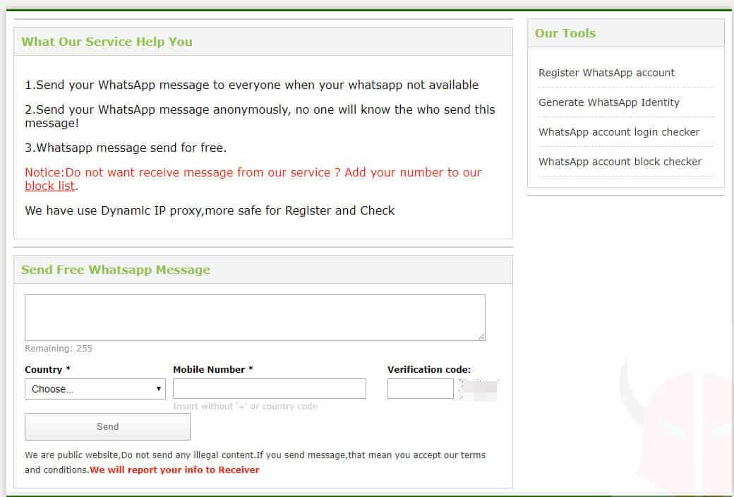 come inviare messaggi anonimi su WhatsApp servizio WhatsApp Helper