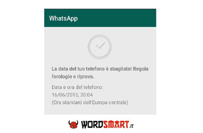 errore data sbagliata WhatsApp