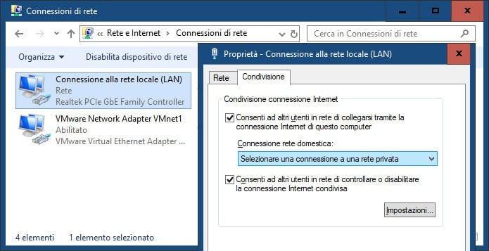 come condividere internet con un PC Windows 10 condivisione LAN
