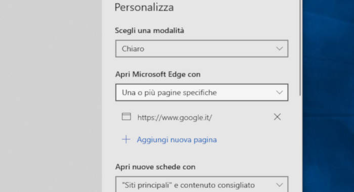come impostare Google su Microsoft Edge Windows 10 pagina iniziale