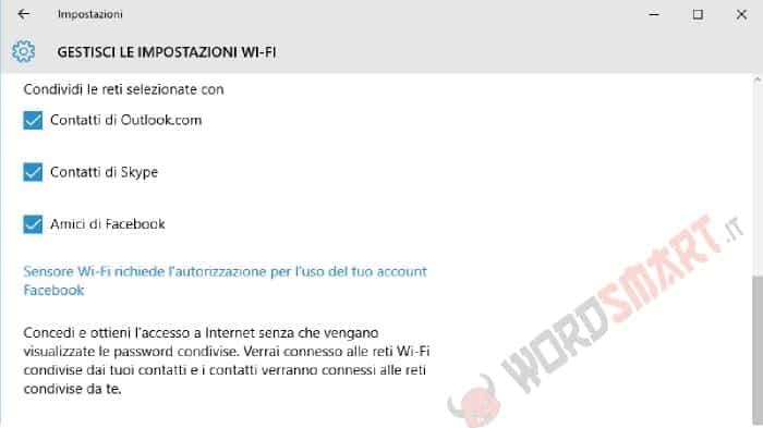 condividere wi-fi Windows 10 contatti