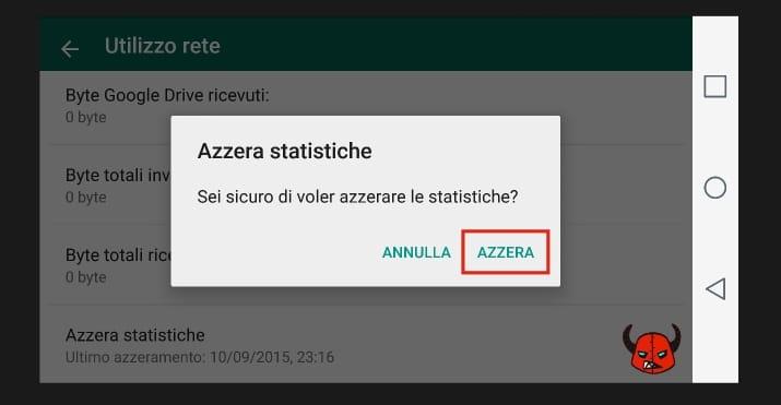 azzerare statistiche WhatsApp Android