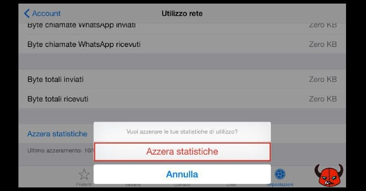 azzerare statistiche WhatsApp iPhone