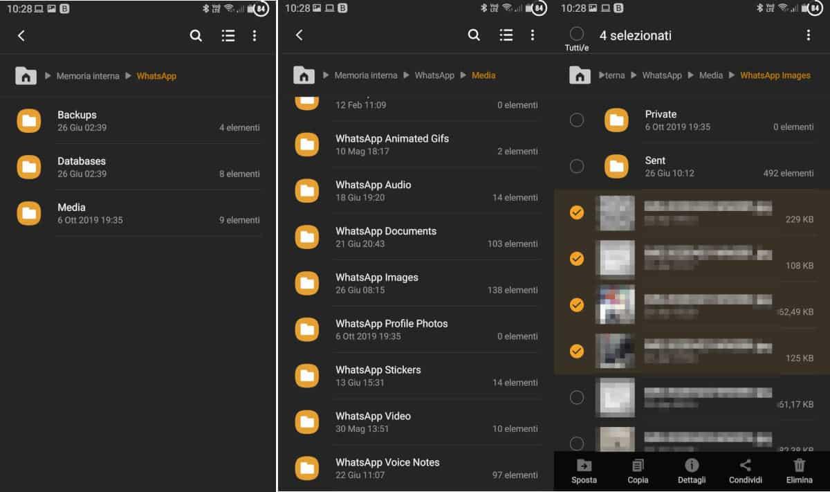 eliminare le foto e i video da WhatsApp tramite gestione file Android