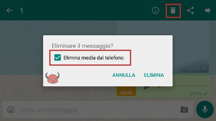 eliminare media dalla chat WhatsApp Guida