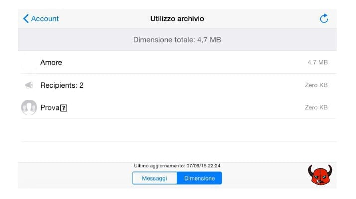 utilizzo archivio WhatsApp per iPhone Dimensione