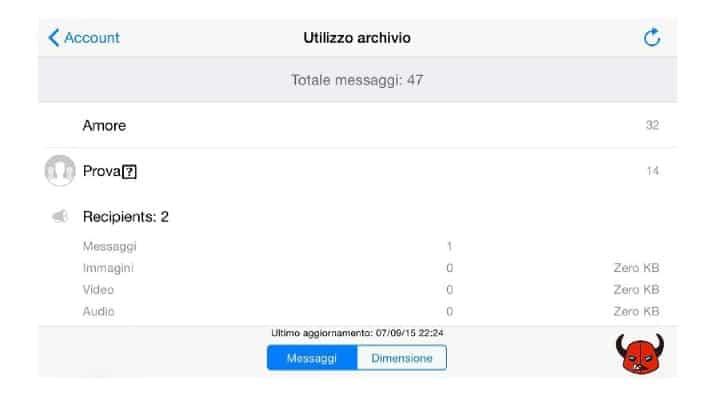 utilizzo archivio WhatsApp per iPhone statistiche
