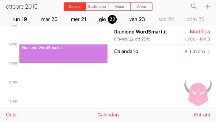 creare evento con WhatsApp Calendario iPhone