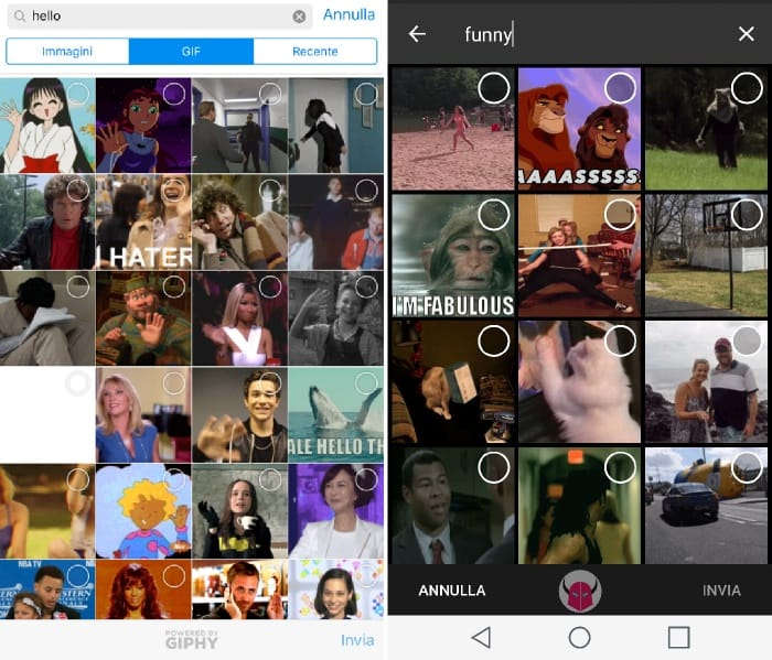 condividere gif animate su Telegram iPhone Android