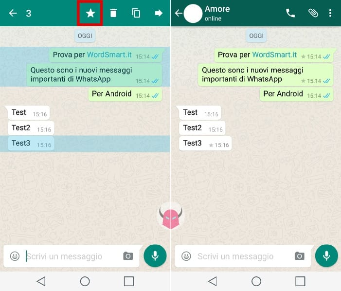 messaggi importanti WhatsApp Android guida chat