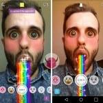 vomitare arcobaleni su Snapchat effetto