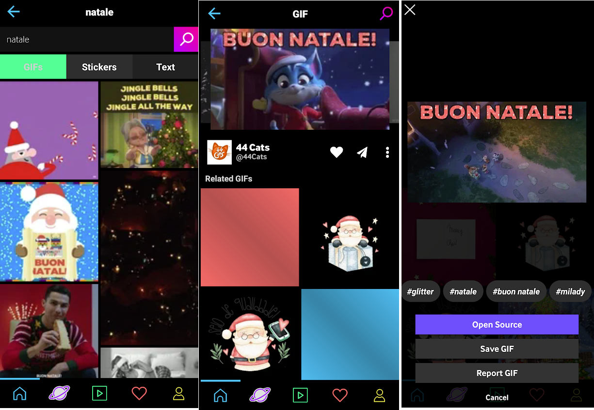 GIF di Natale per WhatsApp download da app Giphy Android