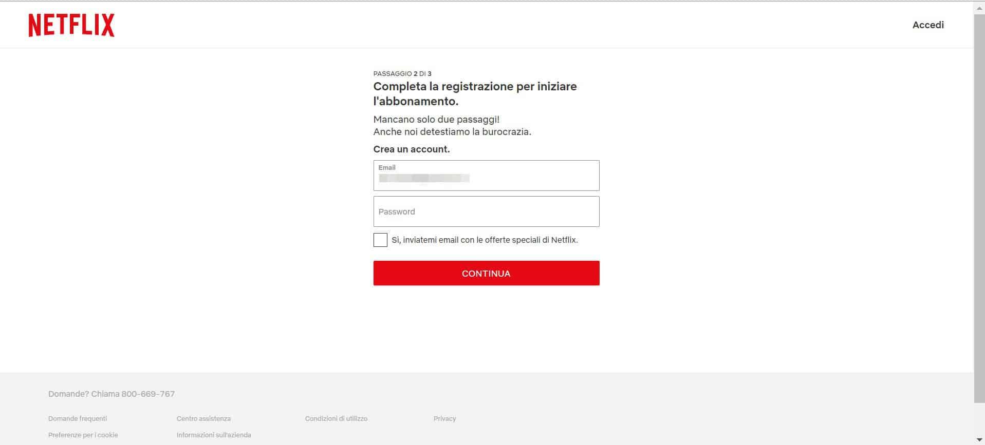 come fare abbonamento Netflix completamento registrazione