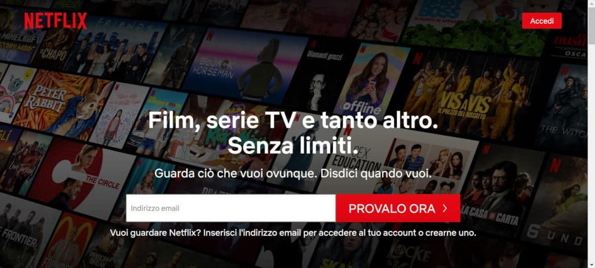 come fare abbonamento Netflix opzione Provalo ora