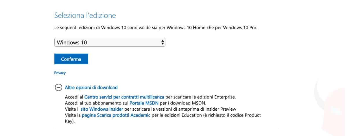 come scaricare ISO Windows 10 download diretto dal sito Microsoft
