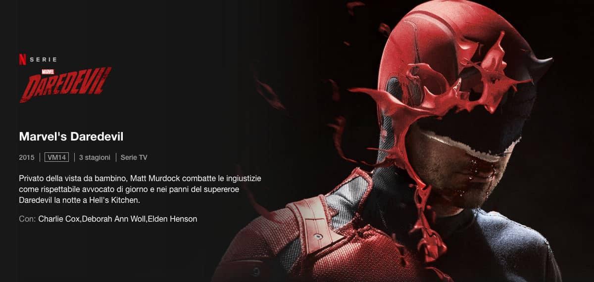 come vedere Netflix esempio serie TV originale Marvel Daredevil