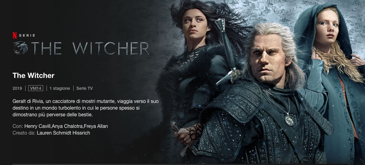 come vedere Netflix esempio serie TV originale The Witcher