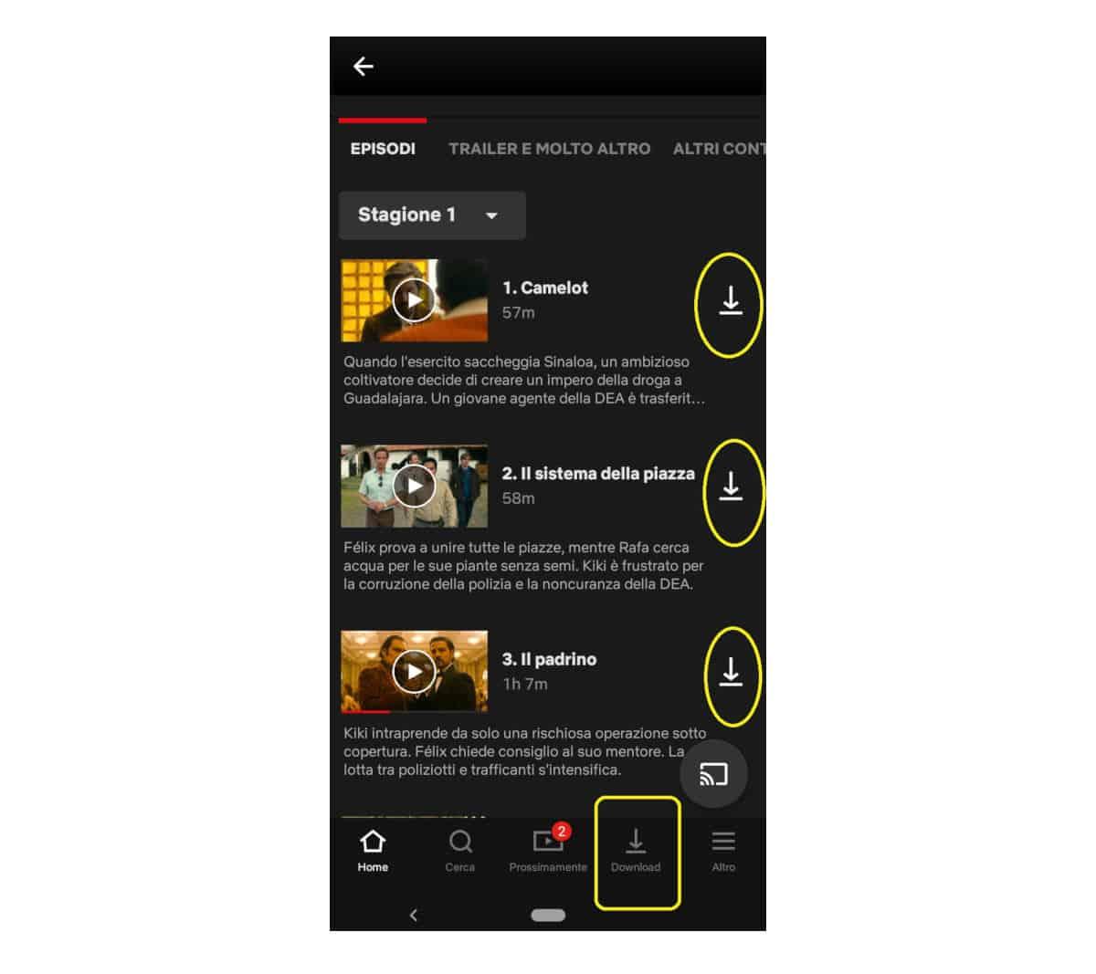 come vedere Netflix offline opzione di download