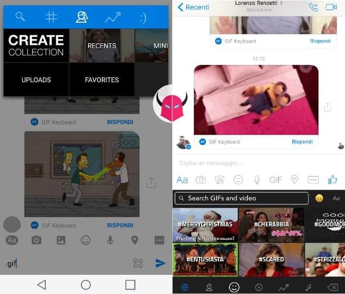 inviare GIF animate su Facebook Messenger Tastiera Interattiva