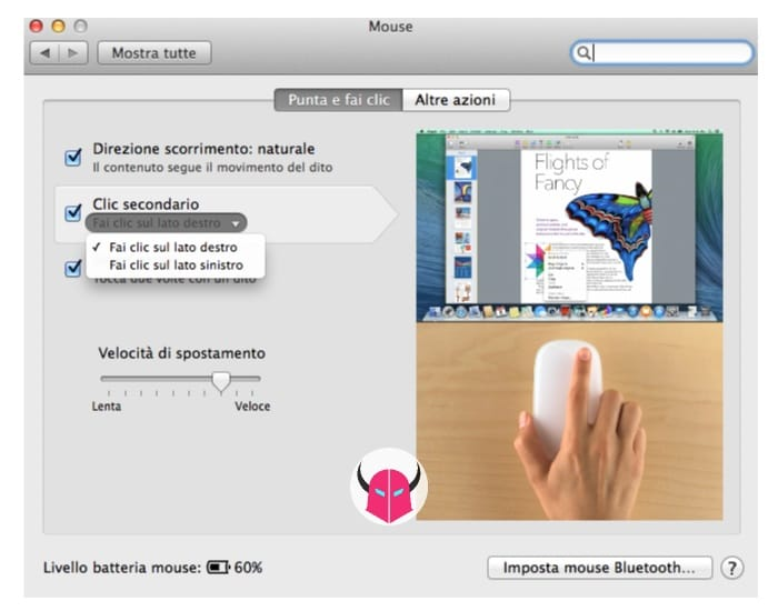 attivare tasto destro su Mac guida