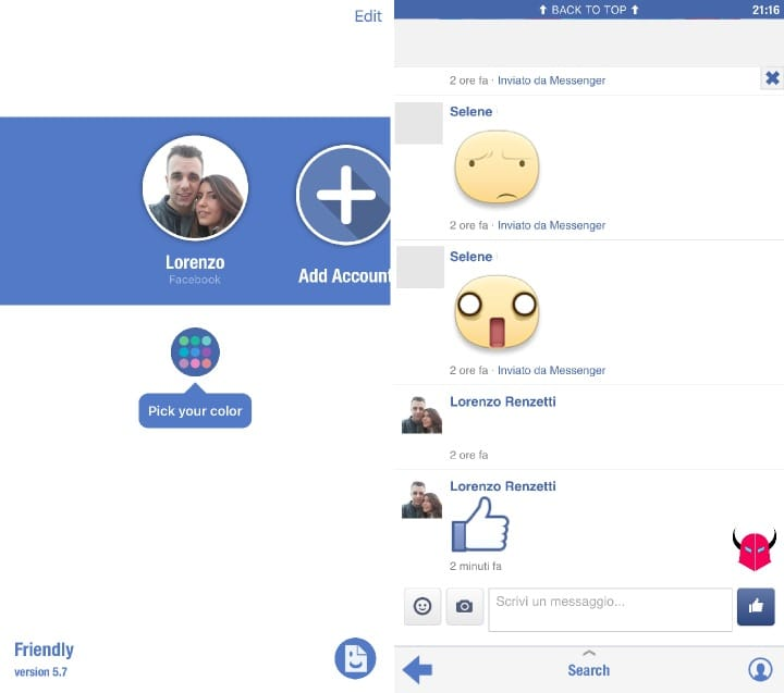 gestire account multipli su Facebook Messenger iOS