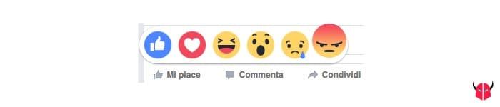 attivare reazioni Facebook Angry