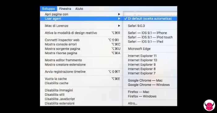 cambiare user agent su Safari menu sviluppo