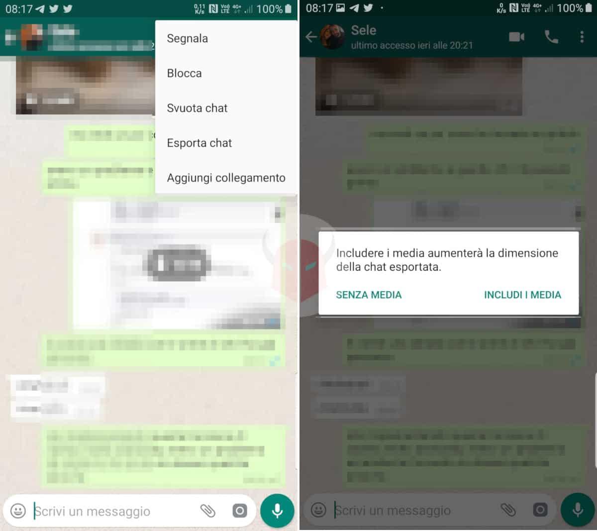 come stampare messaggi WhatsApp Android