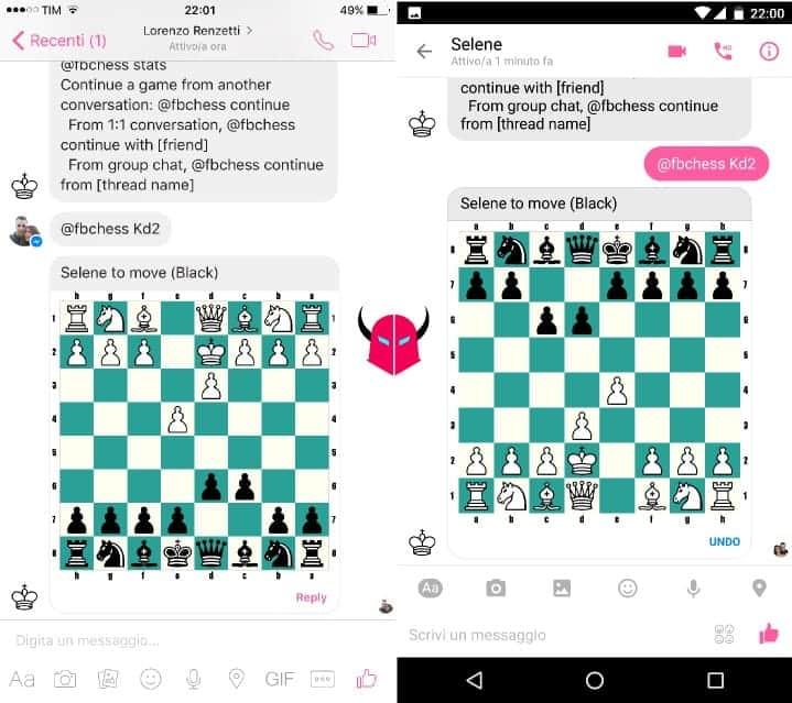 giocare a scacchi su Facebook Messenger muovere pedine