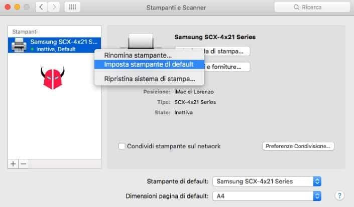 impostare stampante predefinita Mac OS X default