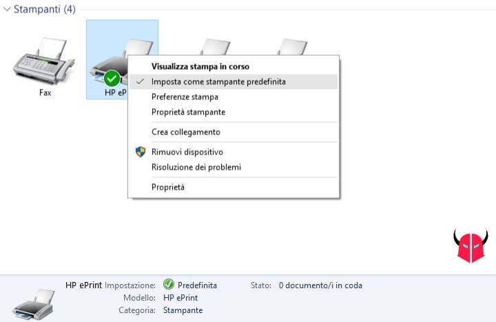 impostare stampante predefinita Windows default