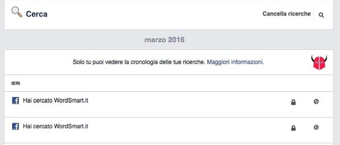 cancellare le ricerche Facebook da PC