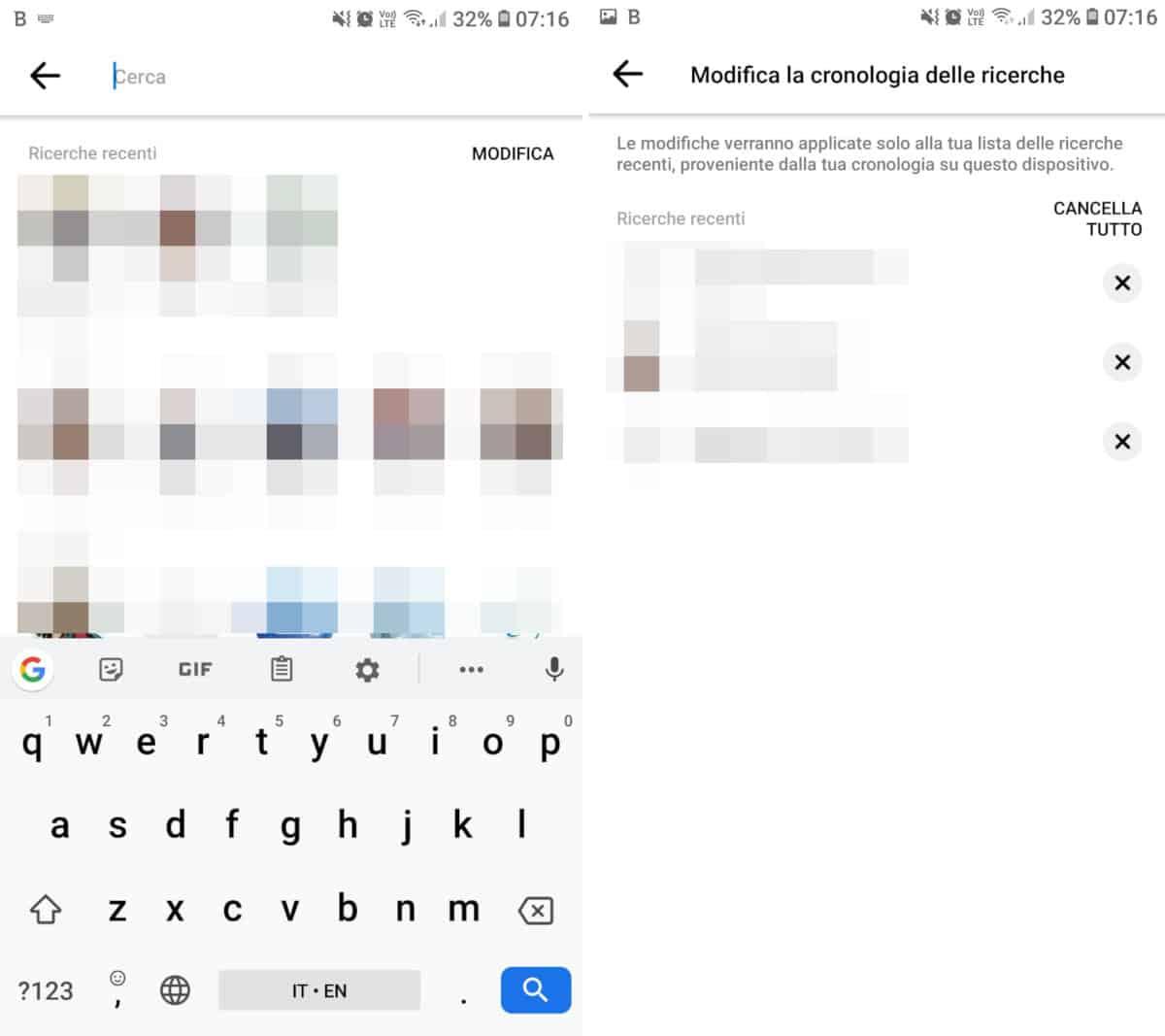 come cancellare le ricerche Facebook app Messenger