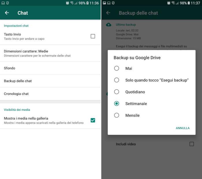 come esportare chat WhatsApp backup