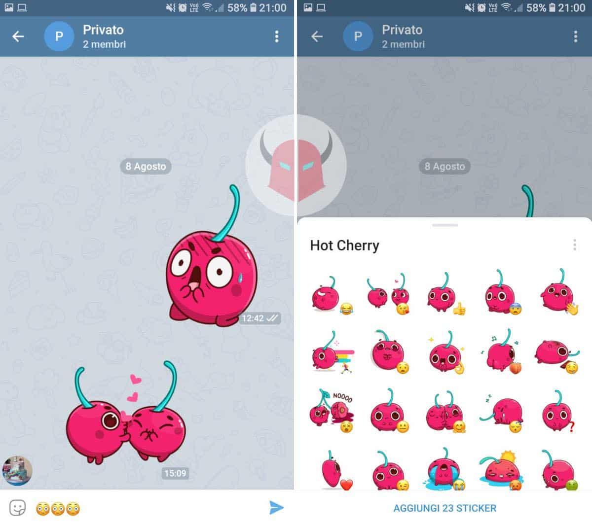come fare gli sticker su Telegram aggiunta di un pacchetto adesivi