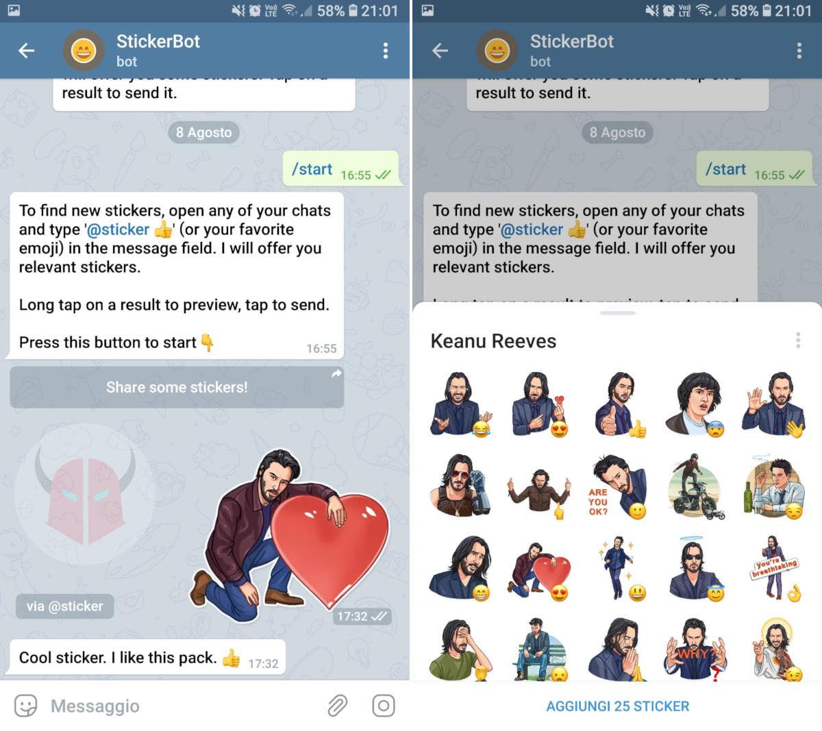come fare gli sticker su Telegram bot StickerBot