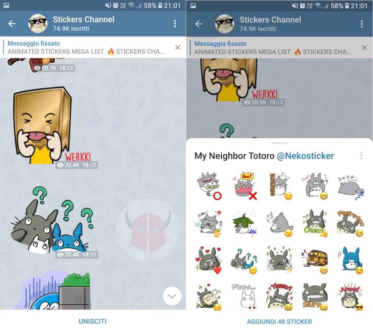 come fare gli sticker su Telegram canale Stickers Channel