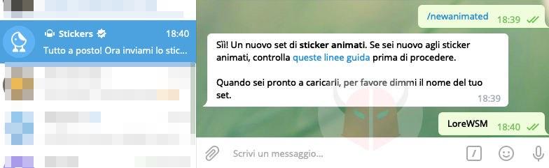 come fare gli sticker su Telegram creazione pacchetto animato