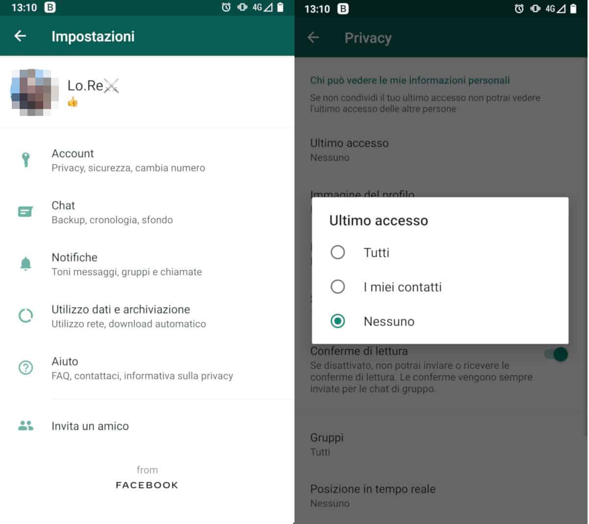 come vedere ultimo accesso WhatsApp impostazioni privacy
