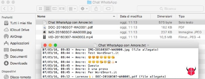 esportare chat WhatsApp leggere messaggi txt