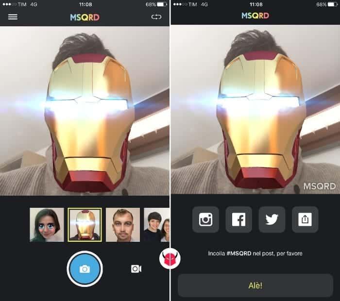 fare selfie con MSQRD effetti fotocamera iOS Android