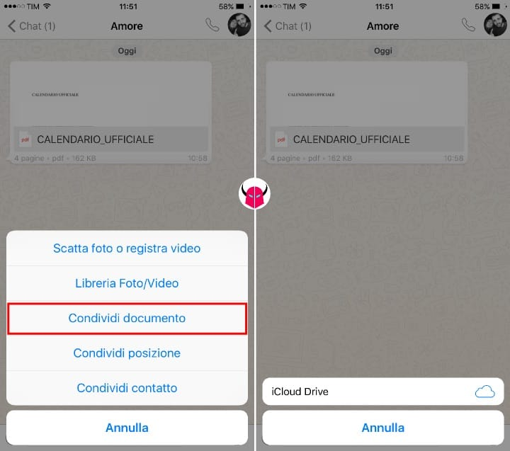 inviare PDF su WhatsApp documenti iPhone