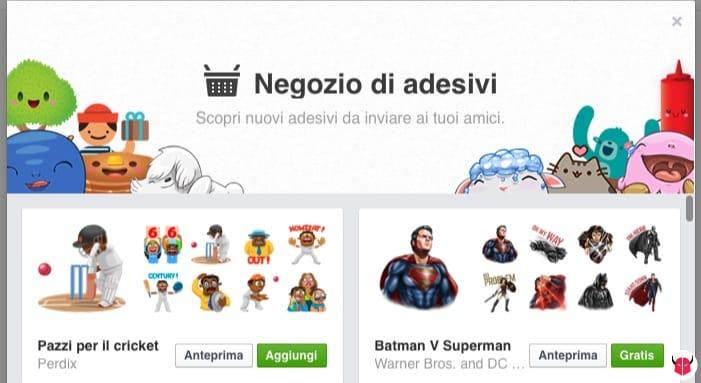 inviare adesivi su Facebook negozio sticker PC
