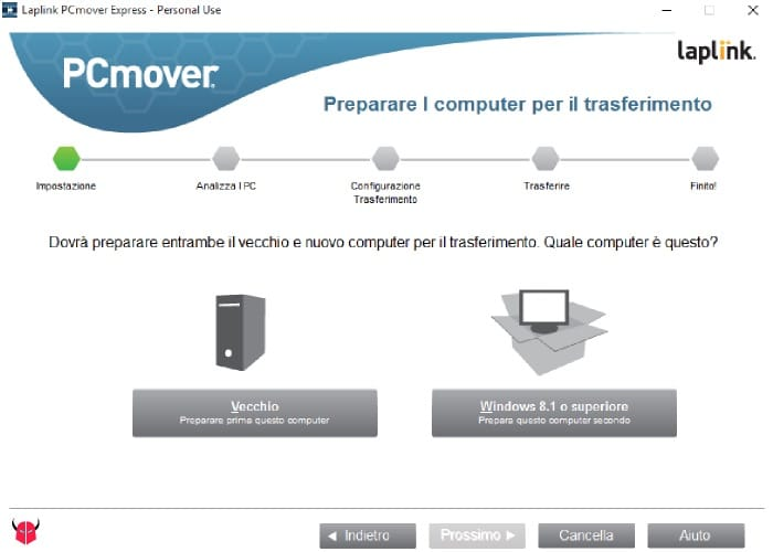 passare da XP a Windows 10 PCmover Express