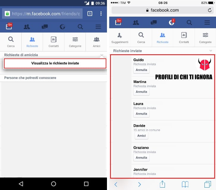 scoprire chi ti ignora su Facebook richieste di amicizia Android iPhone