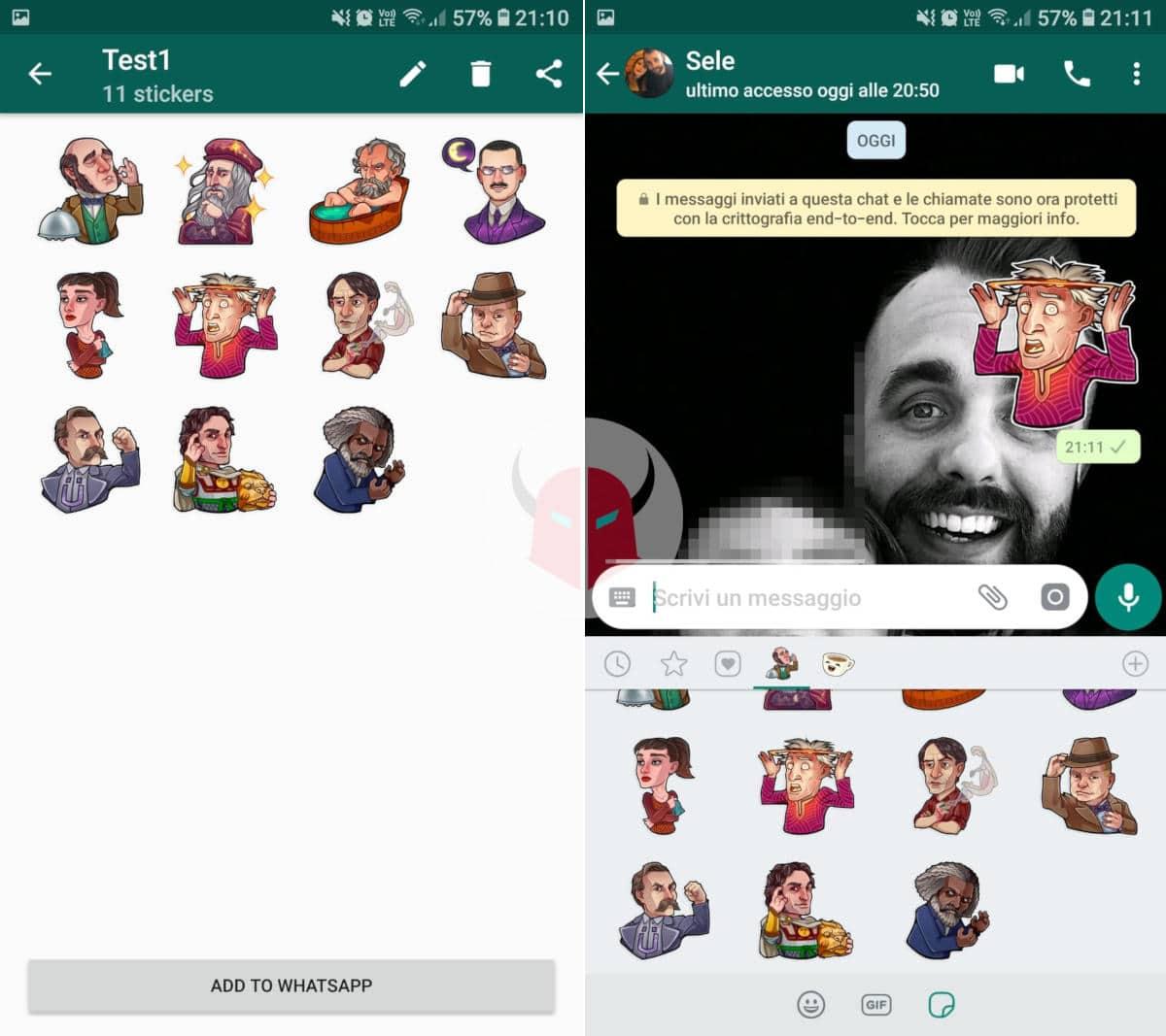 sticker Telegram su WhatsApp applicazione Personal stickers for WhatsApp