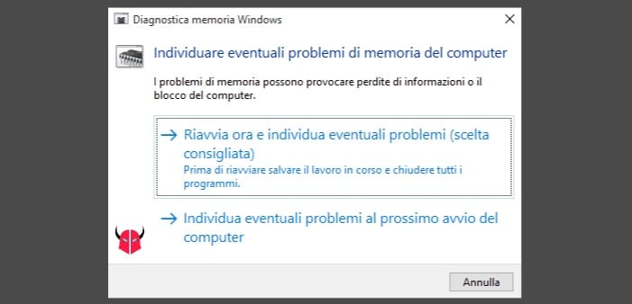 testare RAM strumento diagnostica Windows